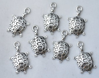 8 Pcs Turtle Charms Tortoise Charms Antique Silver Tone 26x16mm - YD0357