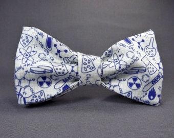 Chemistry bowtie, Physics bowtie, Science bowtie, laboratory bowtie, scientist, teacher, doodles, graph paper, chemistry necktie