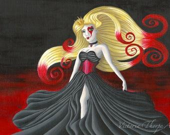 Original Art - Queen of Hearts - Alice in Wonderland Fantasy Gothic Dark Acrylic Painting