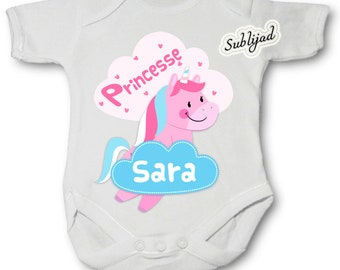 Princess Unicorn personalized Bodysuit with name of your choice