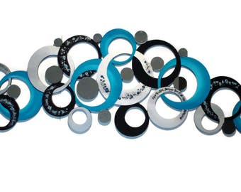 Serenity Circles Wall Decor - Turquoise Circle Wall Sculpture with mirrors - Large 82x24 by Alisa