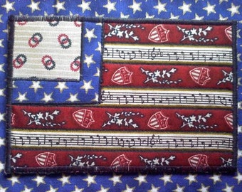 Celebrate the fourth of July with this patriotic fabric postcard, AMERICANA Flag FABRIC POSTCARD