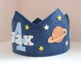 Space Birthday Crown, Solar System, Stars and Planets, Wool Felt Crown, Personalized, Smash Cake