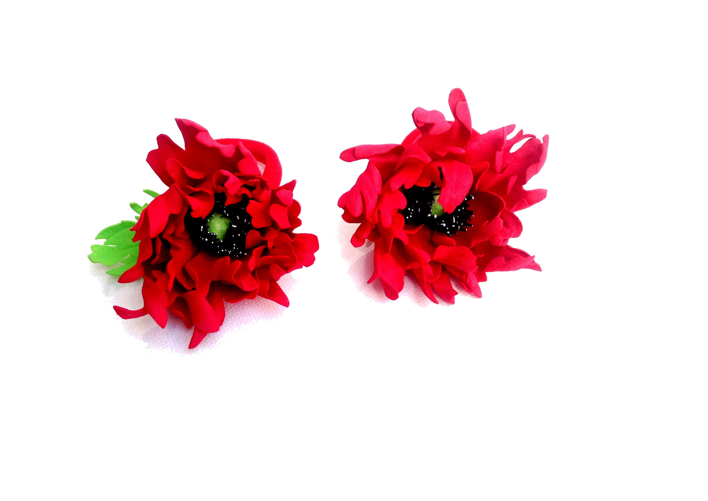 Red Flower Hair Clip Ivory Red Flower Red Hair Clip Flowers