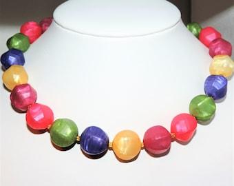 Chunky Vintage FRUIT SALAD Satin LUCITE Necklace