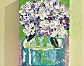 Blue Hydrangeas Aqua Jar- Acrylic 7 x 5 Canvas -Original- Cynthia Van Horne Ehrlich-Home Decor-Gift-Wedding Gift-Floral-Spring-Affordable