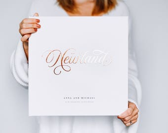 Formal Wedding Guest Book - Real Foil Custom Calligraphy, Guest Book Sign In Album, Personalized Wedding Photo Hardcover, Wedding Gift