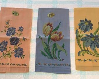 Three Guest/Hand Towels, Floral Prints, Blue, Peach and Gold, NIB, MWT, 1940