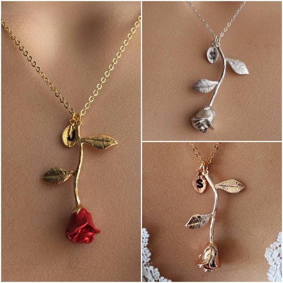 Original beauty and the beast rose necklace rose gold rose mozeypictures Gallery