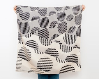 Free Shipping Worldwide / Dots furoshiki (black) Japanese eco wrapping textile/scarf, handmade in Japan