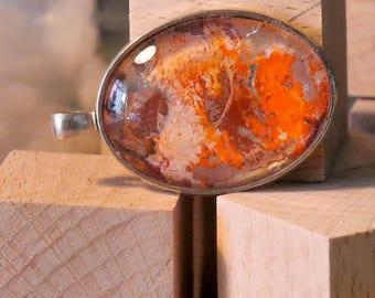 Unique silver necklace pendant painting orange brown/Pendant art painting unique piece orange brown silver
