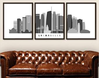 Los Angeles Prints Set of 3 Black and White, Los Angeles Skyline Retro, Los Angeles Hollywood, California Skyline, Travel Decor (G0148)