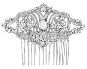 Bridal comb, bridal hair comb, deco hair comb, 1920s hair comb, crystal bridal side comb, Art Deco Bridal Hair Comb,  Bridal hairpiece,
