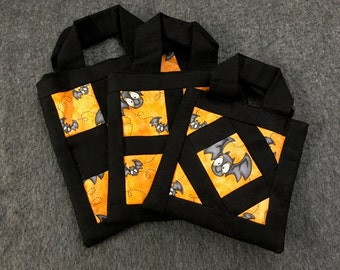 3 Small Square Halloween Trick or Treat Bags - Bats - Black and Orange