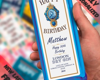 Personalised Labels Gin Bombay, Happy birthday label, party & gifting