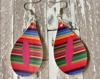 EARRINGS Serape Feather Faux Leather Dangle Pierced Striped Multi Color Pleather Jewelry