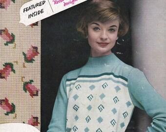 ON SALE Stitchcraft Magazine August 1958 Knitting Pattern, Crochet Pattern, Embroidery Pattern Book