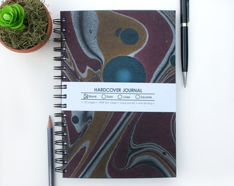 Silver, Gold, Wine, and Black Marbled Hardcover Journal with Blank Pages – Bullet Journal Notebook – Spiral Journal