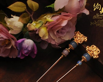 Winter Palace Purple and Blue Agate Opal Gold-plated Oriental Hairstick