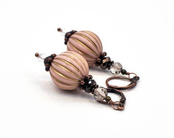 Pink Earrings, Christmas Gift for Her for Wife, Long Pink Statement Earrings, Copper Earring, Lightweight Pink Drop Dangle Jewelry Earrings