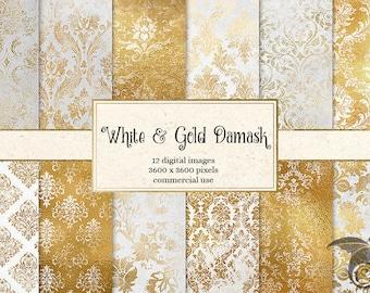 White and Gold Damask digital paper, rustic vintage texture scrapbook paper, distressed grunge, gold foil wedding paper instant download