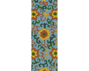Flower Pattern Peyote Bead Pattern, Bracelet Cuff, Bookmark, Seed Beading Pattern Miyuki Delica Size 11 Beads - PDF Instant Downloa