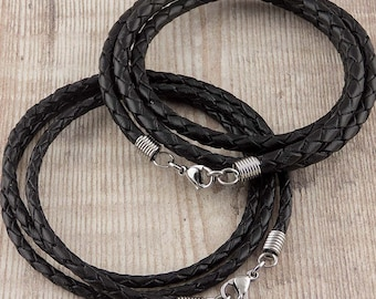 Braided Bolo Real Leather Cord Necklace / Stainless Steel Fittings / 50, 60 or 70cm Length / 3mm or 4mm Thickness