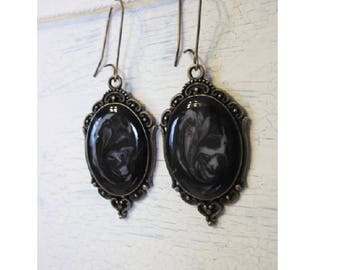 Earrings cabochon black influence galaxy medieval