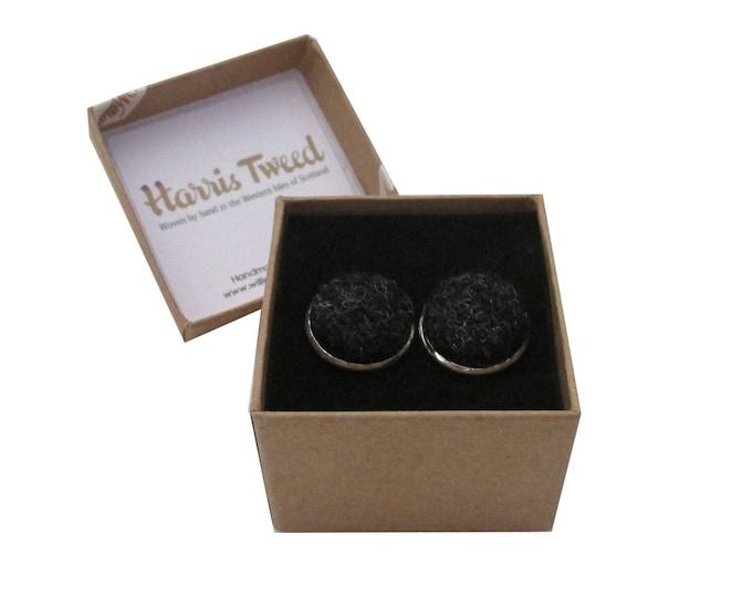 Harris Tweed Charcoal Grey Handmade Boxed Cufflinks