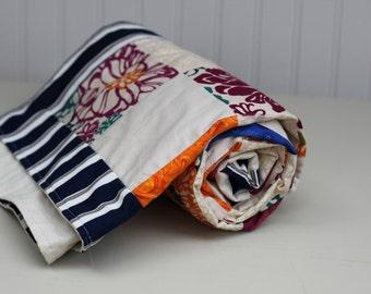 Lap quilt, vintage floral cuddle blanket, throw, rustic decor, birthday gift, wedding shower, college dorm, wheelchair cover