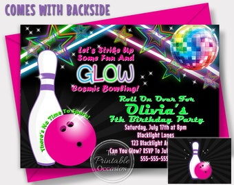 Girls Glow Bowling Invitations, Bowling Birthday Party, Cosmic Bowling Invitations, Birthday Party, Girls, Glow Party, Neon Birthday