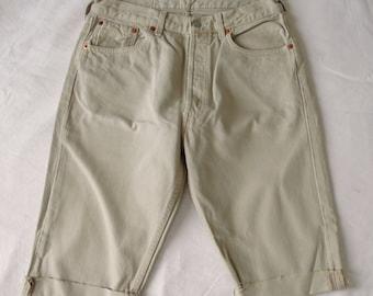 Mens vintage Levis 501 shorts, beige denim jean, cut off frayed long shorts, waist 29, small