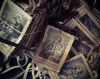 1pc VINTAGE CATHOLIC SCAPULAR Our Lady