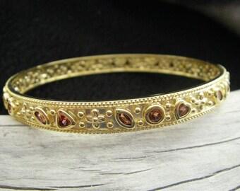 Vintage gold and gem bangle bracelet