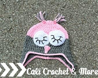 Crochet Owl Hat (Custom Colors)