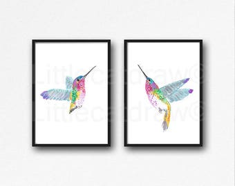 Hummingbird Print Set Of 2 Bird Print Watercolor Painting Print Bird Art Print Bird Lover Gift Living Room Decor Bird Wall Art Wall Decor