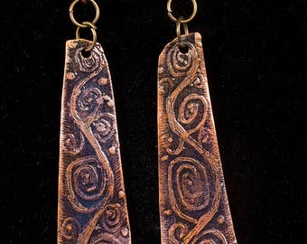 Rustic Aged copper earrings with etched spiral design