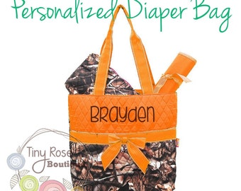 Personalized Camo Diaper Bag, Camouflage Orange Monogrammed Baby Tote, Changing Pad, Mommy Bag