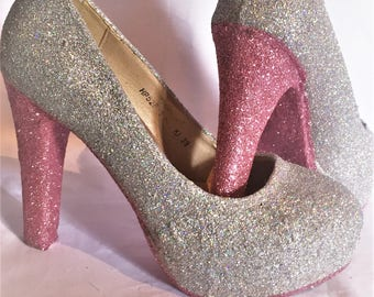 Silver Wedding / Bridesmaid Glitter Heels / shoes* *  * SIZES 3-8