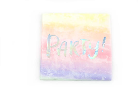 8pc Party Script Napkin, Luncheon Foiled Silver Hologram and Pink Ombre, Pink Birthday Napkin, Tie die  Party Napkin Watercolor Napkin