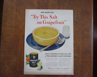 1944 Original Vintage Morton's Salt ad