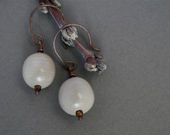 natural earrings with gray sea beans - nickernut dangle earrings - ethnic boho  jewelry
