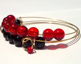 Hot Coals abacus bracelet in red and black glass