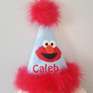 first  birthday elmo hat, 2nd birthday,  party hat, smash cake photo, elmo birthday, free personalization boys birthday hat