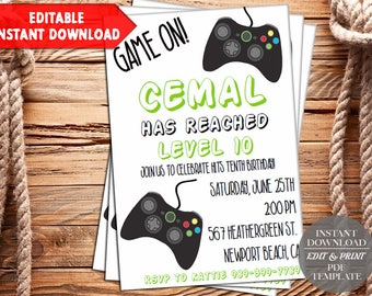 INSTANT DOWNLOAD-Video Game Invitation, Gaming Invitation, Video Game Party, Video Game Truck Invite, Birthday, Arcade, Digital, PDF Invite