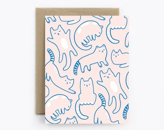 Blank Card - Birthday, Friendship, Just Because - Cats