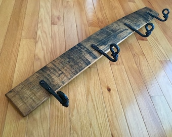 Whiskey Barrel Stave Coat Rack