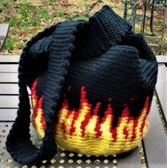 Blaze Tapestry Crochet Wayuu Japanese Knot Bag