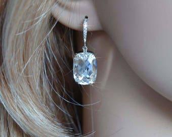 Handmade Swarovski Clear Cushion Cut Rectangle Crystal & CZ Dangle Bridal Earrings, Bridal, Wedding (Sparkle-2761)