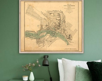 """Map of Richmond VA, 1864 Vintage Richmond map, 4 sizes up to 45x36"""" (115x90cm) Large Civil War map of Richmond - Limited Edition of 100"""